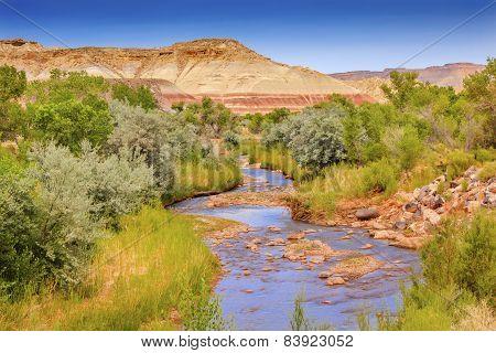 Red White Sandstone Mountain Fremont River Capitol Reef National Park Torrey Utah