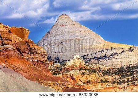 Capitol Dome Navajo White Sandstone Mountain Capitol Reef National Park Torrey Utah