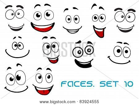 Happy emotions on cartoon faces