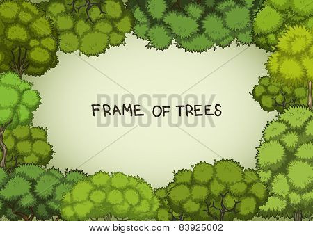 Horizontal frame of the cartoon deciduous trees