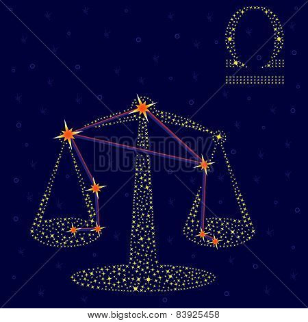 Zodiac Sign Libra Over Starry Sky