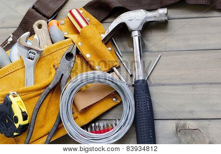 Tool Belt Stuffed With Various Tools