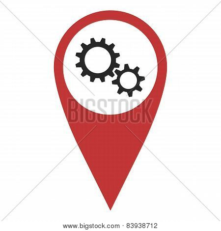Red Geo Pin With Gear Wheels