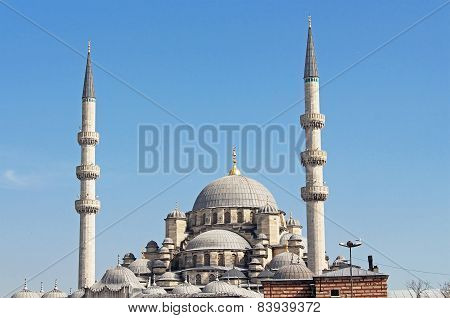 View Of The New Mosque (yeni Cami) In Istanbul, Turkey