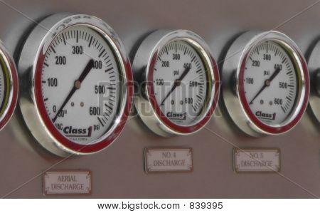 Fire truck pressure gauges