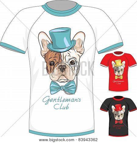 T-shirt with French Bulldog dog gentleman
