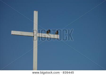birds on a white cross