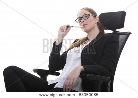 Manager in her office chair