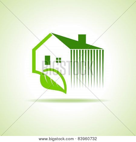 Eco home icon with leaf on white background stock vector