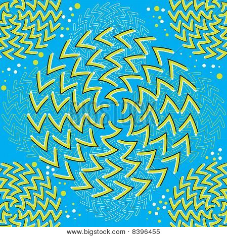 Patterns of V-shapes appear to rotate in an abstract background vector illustration of the optical illusion variety. poster