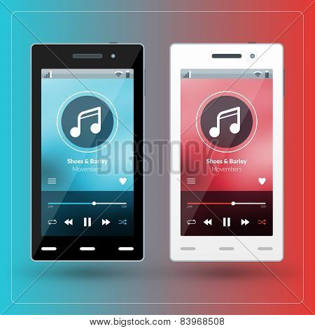 Modern Smartphone With Musical Player On The Screen. Flat Design Template For Mobile Apps