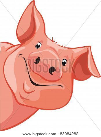 Pig Peeking Out From The Left - Vector Illustration