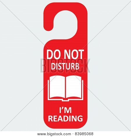 Vector hotel tag do not disturb with reading book icon
