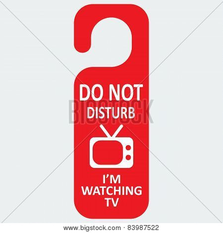 Vector hotel tag do not disturb with tv icon