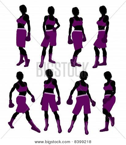 Female Boxing Illustration Silhouette