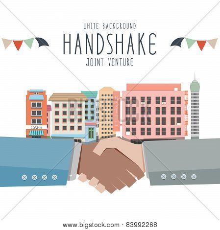 Handshake, Joint Venture (white Background)