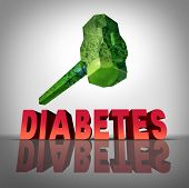 Beating diabetes natural treatment concept as a hammer made of healthy fruits and vegetables destroying the diabetic disease as a symbol of medicinal diet and diagnosis of blood sugar condition. poster