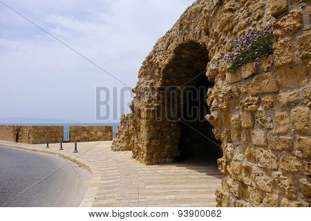 Tourist site and old ruins of ancient Akko city in Israel. poster