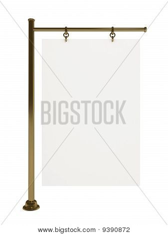 Blank White Board for Advertisement, Isolated on White