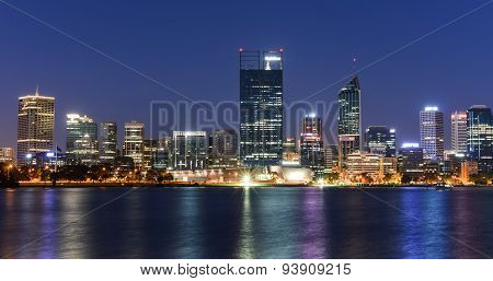 Perth Skyline Reflected In The Swan River
