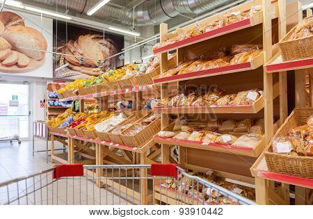 Bakery Products Ready To Sale In The New Hypermarket Magnet. Russia's Largest Retailer