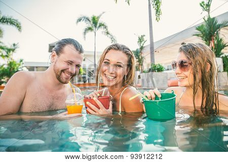 Friends In A Swimming Pool