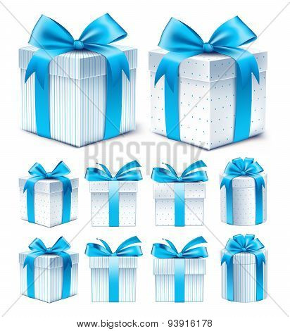 Collection of Realistic Colorful Blue Pattern Gift Box