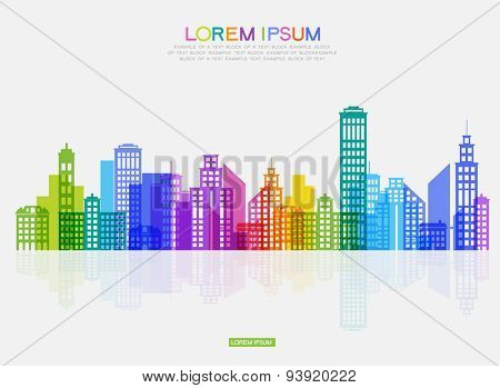 Vector silhouette of the modern city. Abstract city template.