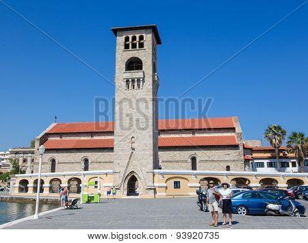 Evangelismos Church At Mandraki Harbour In Rhodes