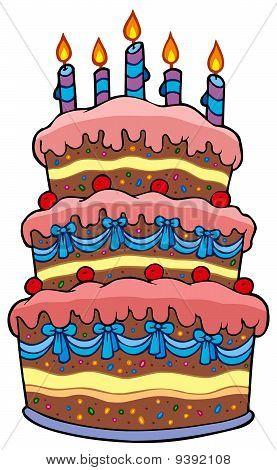 Big cartoon cake with candles