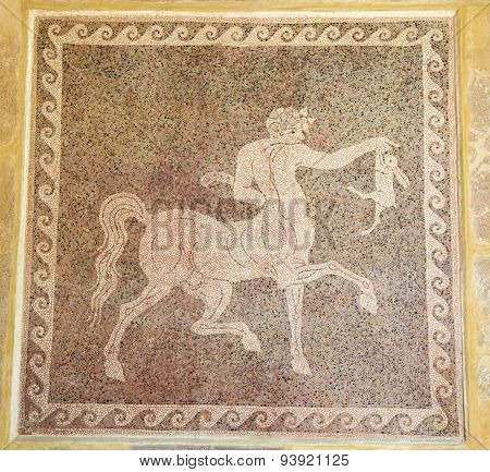 Mozaic Of A Centaur Holding A Rabbit In The Museum Of Rhodes, Greece