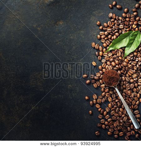 Coffee on grunge dark background