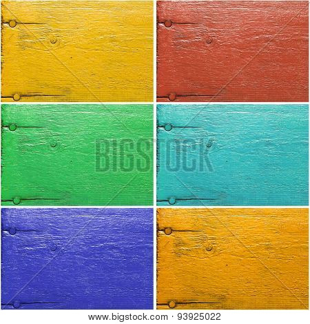 Set Of Six Painted Wooden Textures