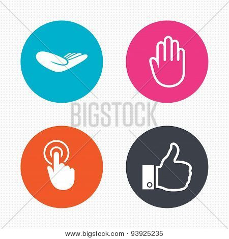 Hand icons. Like thumb up and click here symbols
