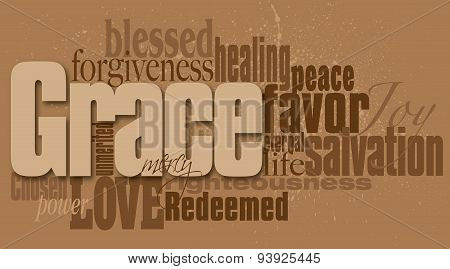 Graphic word montage of the Christian concept of grace composed in neutral earthy tones. Use as overall background or as featured art. poster