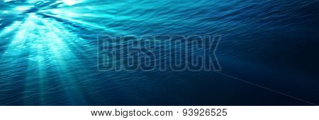 underwater - blue shining in deep of the sea