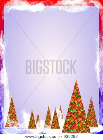 Christmas Trees With Snow Border