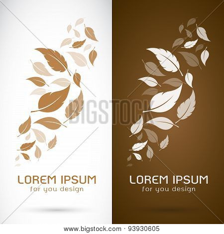 Vector Image Of An Leaves Design On White Background And Brown Background, Logo, Symbol