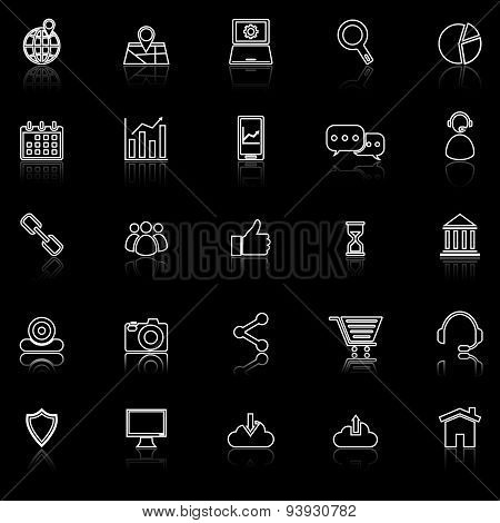 Seo Line Icons With Reflect On Black