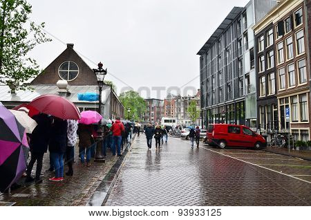 Amsterdam, Netherlands - May 16, 2015: People Queuing At The Anne Frank House