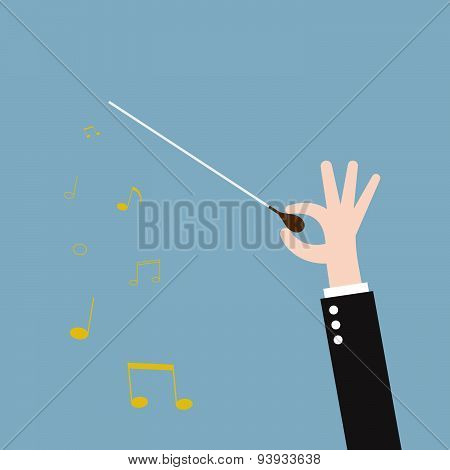 music orchestra conductor hand with baton leadership. vector illustration poster