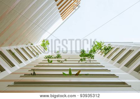 Looking-up view of plants and flowers reaching out of corridors of a muli-story apartment building. poster