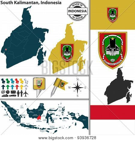 Map Of South Kalimantan, Indonesia