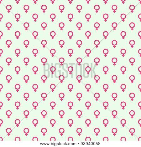 Repeating geometric background with  symbol of  feminine.
