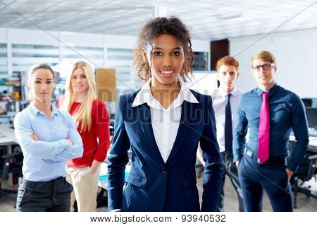 African young businesswoman multi ethnic teamwork group as leader in office