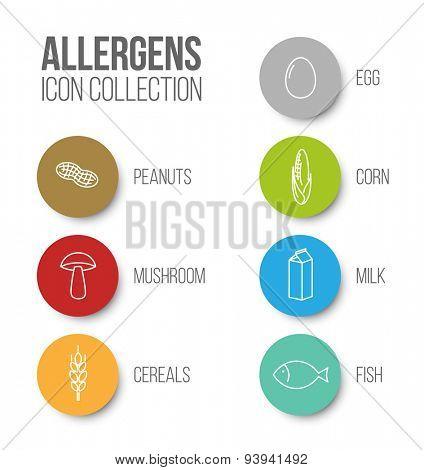Vector icons set for allergens (milk, fish, egg, gluten, wheat, nut, lactose, corn, mushroom) - color version