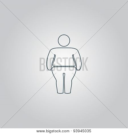 Overweight man symbol. Flat web icon, sign or button isolated on grey background. Collection modern trend concept design style vector illustration symbol poster