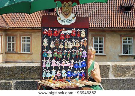 Hand painted fridge magnets, Prague.
