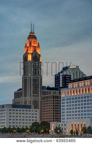 Dusk downtown cityscape