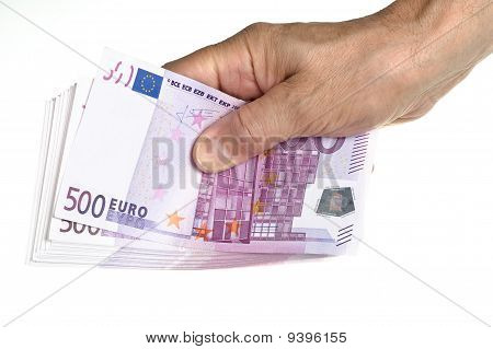 Hold Stack Of 500 Euro In Hand